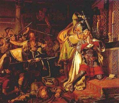 """IV0710 św. Kanut IV Święty Kanut IV urodził się około 1043 roku. Był synem króla duńskiego, Swena II Estrydsena. Niektóre źródła historyczne podają, że Kanut miał być jednym z dowodzących łupieżczym najazdem Wikingów na Anglię w 1075 roku.  W czasie powrotu z tamtej """"angielskiej"""" wyprawy, duńscy rabusie mieli zatrzymać się we Flandrii. Jej mieszkańcy także byli wrogo nastawieni do Anglików, stąd też późniejsza żona świętego Kanuta – Adela – pochodziła właśnie z Flandrii. Była córką tamtejszego księcia, Roberta I, małżeństwo to było natomiast swoistym przypieczętowaniem sojuszu między Duńczykami i flandryjskimi przodkami dzisiejszych Belgów.  Do ślubu Adeli z Kanutem doszło, gdy ten ostatni otrzymał koronę duńską w 1080 roku, po śmierci swego brata Haralda III Heina. Na tronie zasiadał przez ostatnich sześć lat swojego życia. Adela urodziła mu syna, Karola I Dobrego – późniejszego błogosławionego.  Kanut w trakcie swego krótkiego panowania nad Danią, starał się wzmacniać władzę monarszą w królestwie, wspierając jednocześnie duński Kościół. Fundował nowe opactwa i kościoły, troszczył się o najuboższych mieszkańców swego kraju. To właśnie Kanut, jako pierwszy, miał sprowadzić do Danii angielskich benedyktynów. Jeden z nich – pochodzący z Canterbury brat Ailnoth – spisał po latach żywot świętego, dzięki czemu mamy tak wiele informacji biograficznych dotyczących Kanuta IV.  Wiemy na przykład, że Kanut IV zabiegał dla siebie o angielską koronę, jako potomek (wnuk) Kanuta I Wielkiego, który zasiadał na tronach Anglii, Norwegii i Danii, a także zarządzał Pomorzem i Szlezwikiem. Nie udało mu się jednak pójść w ślady słynnego dziadka. Potężna flota, którą Kanut IV zgromadził przeciw Anglikom, ostatecznie nigdy nie wypłynęła w kierunku Brytanii, król zaś zmuszony był uciekać przed niezgadzającymi się na jego rządy buntownikami, wśród których był także jego brat, Olaf I Głód.  Wikingowie nigdy potem nie odbudowali już swej potęgi, natomiast Kanut, wraz z towarzyszącymi mu kompa"""