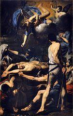 II 0702  świętych męczenników Procesa i Martyniana (+ III w.) Procesjusz i Martynian Przejdź do nawigacjiPrzejdź do wyszukiwania Święci Procesjusz i Martynian męczennicy Ilustracja Obraz Valentina de Boulogne z 1629, Watykan Data i miejsce urodzeniaI wiek  Rzym Data i miejsce śmierci67[1]  Rzym Czczeni przezKościół katolicki Wspomnienie2 lipca (Kościół katolicki), 11 kwietnia (Kościół prawosławny, według kalendarza juliańskiego) Atrybutypalma Patronisłużb więziennych Szczególne miejsca kultuBazylika watykańska Procesjusz i Martynian[2] − męczennicy chrześcijańscy, święci Kościoła katolickiego i prawosławnego[3].   Spis treści 1Legenda 2Kult 3Zobacz też 4Przypisy Legenda Według starożytnej legendy święci Procesjusz i Martynian mieli być żołnierzami rzymskimi w czasach Nerona. Powierzono im zadanie strzeżenia w więzieniu mamertyńskim apostołów Piotra i Pawła. Widząc cuda dokonywane przez apostołów oraz wsłuchując się w ich nauki Procesjusz i Martynian mieli poprosić o chrzest. Kiedy okazało się, iż nie ma wody, której apostołowie mogliby użyć, Piotr miał wyprowadzić strugę ze Skały Tarpejskiej. Po chrzcie neofici mieli zaproponować apostołom pomoc w ucieczce z więzienia. Gdy sędzia Paulin dowiedział się o konwersji strażników, polecił ich uwięzienie. Skazano ich na stłuczenie ust, łamanie, opalanie, żądlenie przez skorpiony i w końcu stracono przez ścięcie[4]. O ścięciu informuje m.in. Martyrologium Romanum. Święci ponieśli śmierć męczeńską na Via Aurelia. Ich ciała pochowała na terenie swego prywatnego cmentarza niejaka Lucyna[5].  Kult Męczennicy Procesjusz i Martynian czczeni byli w Rzymie począwszy od III lub IV w. Nad ich grobem wzniesiono w IV w. kościół, w którym w dniu ich wspomnienia papież Grzegorz I miał wygłosić jedną ze swych homilii. Świątynia ta nie zachowała się. Jej istnienie potwierdził jednak Beda Czcigodny. Relikwie przeniósł w IX w. do Bazyliki św. Piotra papież Paschalis I. W 1605 złożono je do porfirowej urny pod ołtarzem św. Piotra. Wspomnienie