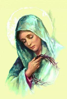 """Jakiż to był cios dla Twojego matczynego serca, nasza bolesna Matko, gdy usłyszałaś Jego skargę: ,, Boże mój, Boże mój, czemuś mnie opuścił?"""" Mt27, 46. A gdy usłyszałaś o Jego palącym pragnieniu, które gotowa byłaś zaspokoić nawet swoją krwią, a nie danie Ci było nawilżyć Go nawet kroplą wody? A gdy zobaczyłaś, jak podstawiono Mu żółć i ocet, gdy usłyszałaś krzyk, jaki wzniósł, gdy zobaczyłaś Jego serce przebite włócznią? A gdy zdjęto Go z krzyża i dostałaś Jego ciało w swoje ramiona i włożyłaś do grobu, składając obok swoje serce? A gdy, schodząc wieczorem ulicami splamionymi niewinną krwią Twojego Syna,wróciłaś do domu bez Niego i wzywałaś Go bez skutku całą noc? Posłuszna byłaś woli swojego Syna, bo przyjęłaś ludzi jak Twoje dzieci. Bez Ciebie nikt nie może wrócić do Niego, ponieważ jesteś pośredniczką i skarbniczką wszystkich łask. Oto ja stoję u Twoich stóp, ja, który zabiłem Twojego Syna! Miej litość nade mną, moja bolesna Matko. Chcę powrócić do Jego serca przebitego z powodu moich grzechów. Ukarz mnie i towarzysz dopóki nie będę Go mieć w ramionach, dopóki wyraźnie nie wypowiem ostatniego pragnienia posiadania Jego i Ciebie. Matko zraniona, przebij moje serce i wykuj w nim cierpienia Twoje oraz Twojego ukrzyżowanego Syna.Amen.  ,,Nabożeństwo dwudziestu sobót """" bł. Bartolo Longo wyd. Rosemaria"""