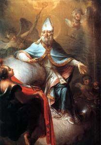 1111 ---------------------------------- Św. Marcin z Tours urodził się w 316/317? roku w Sabarii (Szombathely? ) - na terenie dzisiejszych Węgier. Ojciec był trybunem wojskowym. Uczył się w Ticinium (Pawia). Mając 15 lat wstąpił do armii Konstancjusza II. Żebrakowi proszącemu o jałmużnę u bram miasta Amiens oddał połowę swej opończy Następnej nocy ukazał mu się Chrystus odziany w ten płaszcz. Pod wpływem tego wydarzenia przyjął chrzest i opuścił wojsko (356). Miał wtedy 18 lat. Odwiedził swoich rodziców których doprowadził do chrześcijaństwa. Następnie udał się do św. Hilarego, biskupa Poitiers, stając się jego uczniem. Po pewnym czasie osiadł jako pustelnik na wysepce Gallinaria w pobliżu Genui. W 361 roku założył pierwszy klasztor w Galii - w Ligugé. Dziesięć lat później, mimo jego sprzeciwu, lud wybrał go biskupem Torus. Św. Marcin jako pasterz diecezji prowadził nadal surowe życie mnisze, budząc sprzeciw okolicznych biskupów. Klasztory które zakładał, łączyły koncepcję życia mniszego z pracą misyjną. Sam odbył wiele wypraw misyjnych. Zmarł 8 listopada 397 roku w Candes podczas podróży duszpasterskiej. Jego ciało sprowadzono Loarą do Tours i pochowano 11 listopada. Jako pierwszy wyznawca - nie męczennik - zaczął odbierać cześć świętego w Kościele Zachodnim. Relikwie spoczywają w bazylice wzniesionej ku czci Świętego. Jest patronem Francji, królewskiego rodu Merowingów diecezji w Eisenstadt, Mainz, Rotterburga, Amiens. dzieci, hotelarzy jeźdźców kawalerii, kapeluszników kowali, krawców młynarzy tkaczy podróżników więźniów właścicieli winnic, żebraków żołnierzy.  W IKONOGRAFII przedstawiany jest św. Marcin w stroju biskupa lub jako żołnierz oddający płaszcz żebrakowi. Jego atrybutami są: dzban, gęś na księdze, gęś u jego stóp, koń, księga, model kościoła, dwa