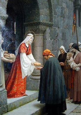 jutro ----------------------- 1117 ----------------------- Elżbieta z Turyngii, Elżbieta Węgierska[1] (ur. 1207 w Pożoniu lub w Sárospatak, zm. 17 listopada 1231 w Marburgu) − księżniczka węgierska, tercjarka franciszkańska[2], święta Kościoła katolickiego. Biografia Elżbieta Węgierska była trzecim dzieckiem króla Węgier Andrzeja II z dynastii Arpadów i Gertrudy z Meran (siostry św. Jadwigi Śląskiej i Agnieszki, królowej Francji).  W wieku 4 lat ówczesnym zwyczajem została zaręczona z Ludwikiem IV, synem Hermana, hrabiego-palatyna saskiego i landgrafa Turyngii. Udała się wtedy do Turyngii i zamieszkała na zamku w Wartburgu. Ślub obojga odbył się dopiero 10 lat później, kiedy Elżbieta miała zaledwie 14 lat. W następnych latach urodziła troje dzieci: Hermana, Zofię i Gertrudę.  Od 1225, zgodnie z życzeniem męża, spowiednikiem i kierownikiem duchowym Elżbiety został Konrad z Marburga, kaznodzieja i inkwizytor. Duchowny z jednej strony kładł pewne granice uczynkom miłosierdzia świętej. Obawiał się także jej praktyk ubóstwa, inspirowanych życiem współczesnych jej świętych Franciszka i Klary. Przypominały mu jednak zbytnio ascezę grup heretyckich (gnostyckich). Z drugiej strony oczekiwał, że nie będzie jadła potraw dworskich, pochodzących z niepewnego źródła, tzn. z danin niesprawiedliwie ściąganych od chłopów. Elżbieta praktykowała z tego powodu wiele postów. Blisko zamku zbudowała szpital, w którym sama usługiwała chorym i ubogim, często spłacając ich długi[3].  Po 6 latach małżeństwa w 1227 zmarł jej mąż podczas wyprawy krzyżowej do Ziemi Świętej. Elżbieta została odsunięta od życia dworskiego przez regenta jej małoletniego syna, Henryka Raspe, opuściła zamek w Wartburgu i przeniosła się do Eisenach.  Po śmierci męża, z obawy przed rozrzutną wdową, próbowano pozbyć się jej z zamku, nie było dla niej i jej dzieci miejsca także w Wartburgu. Dopiero, gdy towarzysze męża wrócili z wyprawy krzyżowej, ujęli się za nią. Rodzina proponowała jej nowe, korzystne małżeństwo. Elżb