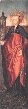 1204 ---------------------------- Św. Barbara dziewica, męczennica (+306). Poniosła męczeńską śmierć w Nikomedii (lub Heliopolis). Jest patronką archidiecezji, katowickiej, Edessy, Kairu. architektów, cieśli, dzwonników, flisaków górników hutników kamieniarzy, kowali, ludwisarzy, marynarzy, murarzy, saperów strażników, szczotkarzy, tkaczy, więźniów, wytwórców sztucznych ogni, żołnierzy (szczególnie artylerzystów i załóg twierdz) oraz patronką dobrej śmierci. Jedna z Czternastu Świętych Wspomożycieli. Według starej legendy była piękną córką bogatego poganina Dioskura z Heliopolis w Bitynii (płn. cz. Azji Mniejszej). Ojciec wysłał ją na naukę do Nikomedii. Tam zetknęła się z chrześcijaństwem. Prowadziła korespondencję z wielkim filozofem i pisarzem Orygenesem z Aleksandrii. Pod jego wpływem przyjęła chrzest i złożyła ślub czystości. Ojciec dowiedziawszy się o tym, pragnąc wydać ją za mąż i złamać opór dziewczyny uwięził ją w wieży. Jej zdecydowana postawa wywołała w nim gniew tak wielki, że ją zabił. Wkrótce przypłacił to nagłą śmiercią od pioruna.  W IKONOGRAFII św. Barbara przedstawiana jest w długiej, pofałdowanej tunice i w płaszczu, z koroną na głowie, niekiedy w czepku. W ręku trzyma kielich i Hostię - według legendy tuż przed śmiercią anioł przyniósł jej Komunię św. Czasami ukazywana jest z wieżą, w której była więziona, oraz z mieczem, od którego zginęła. Atrybuty: anioł z gałązką palmową, dwa miecze u jej stóp, gałązka palmowa, kielich, księga, lew u stóp, miecz, monstrancja, pawie lub strusie pióro, wieża.