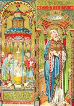 0603 św. Klotylda Klotylda, Chrodechilda, cs. Błagowiernaja carica Kłotilda, (ur. ok. 470 roku w Lyonie, zm. 3 czerwca 545 w Tours) – święta katolicka i prawosławna. Żywot świętej Życiorys św. Klotyldy spisano w X wieku na podstawie zapisków św. Grzegorza z Tours. Była córką Chilperyka II – brata i współregenta króla Burgundów Gundobada.  W 483 roku król Franków salickich z dynastii Merowingów Chlodwig I wysłał do Burgundii poselstwo w sprawie ewentualnego małżeństwa z Klotyldą do którego doszło w 492 roku (mimo że Chlodwig miał już syna z nieprawego łoża – Teuderyka I). Taki krok władcy Franków można tłumaczyć chęcią pozyskania sojuszników przeciwko Wizygotom.  Urodziła mu czterech synów i córkę:  Ingomera (zm. w dzieciństwie) Chlodomera (zm. w 525 r.) Childeberta Chlotara Klotyldę Dzieci zostały ochrzczone, a mąż przyjął chrzest z rąk św. Remigiusza. Po śmierci Chlodwiga przeniosła się do Tours i tam zmarła, a pochowana została w Paryżu.  Kult Relikwie św. Klotyldy, królowej były przechowywane i obnoszone w procesjach aż do rewolucji francuskiej. Do dziś znajdują się one w kościele Saint-Leu w Paryżu.  W ikonografii święta odziana jest w królewskie szaty i koronę. W dłoniach trzyma zwój pisma.  Wspomnienie liturgiczne w Kościele katolickim obchodzone jest 3 czerwca, natomiast w Cerkwi prawosławnej 3/16 czerwca[d], tj. 16 czerwca według kalendarza gregoriańskiego.