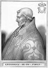 """jutro ------------------------------------ 1210 --------------------------------------------- św. Grzegorz, papież, św. Edmund Gerhings, św. Eustachy, św. Jan Roberts, św. Eulalia z Merida, św. Swithin Wells, święci Mannas, Hermogenes i Eugrphus, św. Polydore Plaaden, św. Melchiades lub Miltiades ----------------------------------------------------------------------- Grzegorz III (ur. w Syrii, zm. 28 listopada 741[1]) – święty Kościoła katolickiego, 90. papież w okresie od 18 marca 731 do 28 listopada 741[2]. Życiorys Z urodzenia był Syryjczykiem. Tuż po pogrzebie poprzedniego papieża został wybrany przez aklamację, którą wyraził oklaskami rzymski lud[1]. Był ostatnim papieżem zatwierdzonym przez bizantyńskiego egzarchę Rawenny[1]. 1 listopada 731 zwołał w Rzymie synod, na którym potępił edykt cesarza Leona III z 730, wprowadzający ikonoklazm oraz ekskomunikował tych, którzy niszczyli święte obrazy[1]. Wówczas cesarz, by wywrzeć nacisk na Grzegorza, wysłał flotę, która jednak zatonęła[1]. Wobec tego, Leon III podporządkował patriarsze Konstantynopola Italię i Sycylię, które wcześniej podlegały Rzymowi[1].  Gdy w 733 roku Rawenna została zajęta przez Longobardów, papież przyczynił się do jej odzyskania przez egzarchę Eutychiusza[1]. W 739 i 740 roku, zagrożony najazdem Longobardów zwrócił się o pomoc do Karola Młota, który jednak był zajęty wojną z Arabami, wdzierającymi się do Francji[2]. W przyszłości zwrot ku Frankom okazał się krokiem owocnym politycznie, ponieważ wzmocnił on prestiż i wpływy Rzymu[3][2].  W czasie jego pontyfikatu, cesarz Leon III praktycznie skonfiskował majątki kościelne, nakładając niemożliwe do spłaty podatki na kościoły rzymskie[2]. Dodatkowo patriarcha Konstantynopola nakazał tytułować się patriarchą """"ekumenicznym"""", co papież uznał za zdradę polityczną i kościelną[2].  Nadał paliusz arcybiskupowi Bonifacemu i mianował go legatem w Germanii[2]. Utrzymywał też bliskie stosunki z Kościołem w Anglii – nadał paliusze: biskupowi Egbertowi z York"""