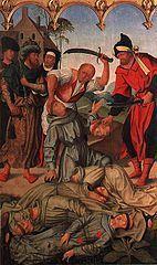 """16 stycznia 2020czwartek Rok liturgiczny: A/II I Tydzień zwykły - Berard z Carbio OFM, wł. Berardo da Carbio (ur. w Carbio, zm. 16 stycznia 1220) − włoski franciszkanin, subdiakon[1], męczennik chrześcijański, święty Kościoła katolickiego, czczony jako protomęczennik franciszkański.  Życiorys Pochodził ze szlacheckiej rodziny Leopardich. Urodził się w Carbio w Umbrii. Do zakonu franciszkańskiego wstąpił w 1213. Dzięki doskonałej znajomości języka arabskiego został wraz z innymi dwoma kapłanami Piotrem i Ottem oraz dwoma braćmi zakonnymi Akursjuszem i Adjutem wybrany na misjonarza. Po drugiej kapitule zakonu w 1219 Berard został wraz z towarzyszami wysłany na misję do """"niewiernych"""" do Maroka[2].  Berard i towarzysze, przez Hiszpanię i Portugalię, trafili do Maroka. Pojmani w Marrakeszu byli torturowani i zmuszani do przejścia na islam. Ścięto ich 16 stycznia 1220. Ciała przewieziono do Koimbry w Portugalii. Relikwie znajdują się w monasterze św. Krzyża.  Kult Berard został kanonizowany, wraz z towarzyszami, 7 sierpnia 1481 przez papieża Sykstusa IV, bullą Cum alias[3][4]. Męczeństwo opisane zostało w Kronice Generałów Zakonu Braci Mniejszych[5]. Wspomnienie liturgiczne obchodzone jest w klasztorach i kościołach franciszkańskich 16 stycznia[6]."""