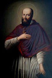 """24 styczeń ----------------- Św. Franciszek Salezy, biskup, doktor Kościoła   germ. frank wolny, wolno urodzony   Św. Franciszek Salezy, biskup, doktor Kościoła (1567-1622). Syn hrabiego Sales w Sabaudii. Studia teologiczne, biblijne i prawnicze na uniwersytetach w Paryżu oraz Padwie zakończył doktoratem. Po powrocie do domu przyjął święcenia kapłańskie, na co rodzice niechętnie udzielili mu zgody. Pracował w kalwińskim okręgu Chablais. Na murach i parkanach rozlepiał ulotki – zwięzłe wyjaśnienia prawd wiary. w epoce fanatyzmu i zaciekłych sporów objawiał wprost wyjątkowy umiar i łagodność. Jego ujmująca uprzejmość i takt spowodowały, iż nazwano go """"światowcem pośród świętych"""". w kontaktach z ludźmi wyznawał zasadę: """"Więcej much się złapie na kroplę miodu aniżeli na całą beczkę octu"""". Mając 35 lat został biskupem Genewy. Stworzył nowy ideał pobożności – życie duchowe, wewnętrzne, praktykowane w klasztorach, wydobył z ukrycia, aby """"wskazywało drogę tym, którzy żyją wśród świata"""". Ze św. Joanną de Chantal założył zakon Sióstr Nawiedzenia NMP (wizytki). Autor wielu pism zaliczanych do klasyki literatury francuskiej. Jego relikwie znajdują się w kościele Nawiedzenia NMP w Annecy.  Doktor Kościoła. Patron wizytek, salezjanów i salezjanek; Annecy, Chabery, Genewy; dziennikarzy i pisarzy, prasy katolickiej.  """"Tak bardzo pragniemy czasem stać się aniołami, że zapominamy przy tym być dobrymi ludźmi.""""  Św. Franciszek Salezy W IKONOGRAFII przedstawia św. Franciszka Salezego w stroju biskupim – w rokiecie i mantolecie lub w stroju pontyfikalnym z mitrą na głowie. Jego atrybutami są: gorejąca kula ośmiopłomienna, księga, pióro, serce przeszyte strzałą i otoczone cierniową koroną trzymane w dłoni."""