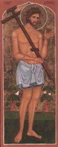 26 marca Święty Dobry Łotr ------------------ Święty Dyzmas (w prawosławiu Rach) to jeden z dwóch łotrów, powieszonych na krzyżu obok Jezusa. Informację o nim przekazuje św. Łukasz w swojej Ewangelii. Kiedy drugi z ukrzyżowanych z Jezusem łotrów urągał Mu, Dyzmas skarcił go mówiąc, że oni umierają słusznie, za swe zbrodnie, ale Jezus nic złego nie uczynił. Zwrócił się do Jezusa, prosząc, żeby wspomniał na niego, kiedy już przyjdzie do swego królestwa. A Jezus obiecał Dobremu Łotrowi - bo tak go od tego czasu nazywamy - że jeszcze dziś będzie z Nim w raju. Był to pierwszy swoisty akt kanonizacji, którego jeszcze na Krzyżu dokonał Chrystus.  O Dobrym Łotrze pisało wielu Ojców Kościoła i świętych. Jego imię - Dyzmas - pochodzi z pism apokryficznych. Kościół wschodni czci go nawet jako męczennika. W Bolonii, w kościele św. Witalisa i w bazylice św. Stefana, oddawano cześć częściom krzyża, na którym Dobry Łotr miał ponieść śmierć. Pielgrzymi, udający się do Ziemi Świętej, chętnie nawiedzali miejscowość Latrum w pobliżu Emaus, która im przypominała postać Dobrego Łotra.  Dobry Łotr jest symbolem Bożego Miłosierdzia; pokazuje, że nawet w ostatniej chwili życia można jeszcze powrócić do Boga. Św. Dyzmas jest patronem Gallipoli (Apulii), skruszonych złodziejów, więźniów, umierających, skazanych na śmierć i dobrej śmierci oraz kapelanów więziennych, pokutujących i nawróconych grzeszników. Stanowi wzór doskonałego żalu za grzechy.  W ikonografii przedstawiany jest jako młodzieniec, również w wieku dojrzałym, a nieraz też jako starzec. Jego strojem jest opaska na biodrach lub krótka tunika. Atrybutami św. Dyzmy są krzyż, łańcuch, maczuga, miecz lub nóż.  Warto wiedzieć, że dolna (trzecia) ukośna belka prawosławnego krzyża symbolizuje skazańców ukrzyżowanych z Chrystusem. Jej prawy kraniec, uniesiony do góry, wskazuje niebo, do którego poszedł Dobry Łotr. Lewy kraniec wskazuje piekło, do którego trafił ten, który nie wyraził skruchy.  Episkopat Polski zdecydował w 2009 r, że dzi