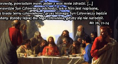8 kwietnia 2020Środa Rok liturgiczny: A/II Wielki Tydzień Pierwsze czytanie:Iz 50, 4-9aPsalm responsoryjny:Ps 69 (68), 8-10. 21-22. 31 i 33-34 (R.: por. 14c)Ewangelia:Mt 26, 14-2 ----------------- Ps 69 (68), 8-10. 21-22. 31 i 33-34 (R.: por. 14c) W Twojej dobroci wysłuchaj mnie, Panie  Dla Ciebie znoszę urąganie, hańba twarz mi okrywa, † dla braci moich stałem się obcym * i cudzoziemcem dla synów mej matki. Bo gorliwość o dom Twój mnie pożera * i spadły na mnie obelgi złorzeczących Tobie.  W Twojej dobroci wysłuchaj mnie, Panie  Hańba złamała me serce i sił mi zabrakło, † czekałem na współczucie, lecz nikt się nie zjawił, * i na pocieszycieli, lecz ich nie znalazłem. Domieszali trucizny do mego pokarmu, * a gdy byłem spragniony, poili mnie octem.  W Twojej dobroci wysłuchaj mnie, Panie  Pieśnią chcę chwalić imię Boga * i wielbić Go z dziękczynieniem. Patrzcie i cieszcie się, ubodzy, † niech ożyje serce szukających Boga. * Bo Pan wysłuchuje biednych i swoimi więźniami nie gardzi.  W Twojej dobroci wysłuchaj mnie, Panie