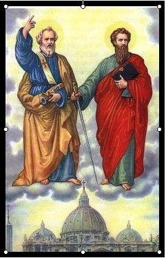 """UROCZYSTOŚĆ ŚWIĘTYCH APOSTOŁÓW PIOTRA I PAWŁA.  Święci apostołowie Piotr i Paweł ponieśli śmierć męczeńską w Rzymie w latach 64-67, podczas prześladowania chrześcijan za czasów Nerona. Piotr i Paweł, """"obdarzeni różnymi darami, zbudowali jeden Kościół Chrystusa"""". / Brewiarz.pl /  1 Męka Bożych Apostołów Uświęciła dzień wschodzący; Piotr i Paweł otrzymali Wieniec chwały i zwycięstwa.  2 Obu mężów połączyła Krew przelana bohatersko; Szli za Bogiem jako wodzem, Chrystus wiarę ich nagrodził.  3 Najpierw złożył swe świadectwo Piotr Apostoł, za nim Paweł, Równy chwałą i wybrany, By się stać narzędziem Pana.  4 Szymon, aby uczcić Boga, Zmarł na krzyżu odwróconym, Wspominając przepowiednię Niegdyś daną mu przez Mistrza.  5 Stąd wyrasta wielkość Rzymu, Który gorliwością słynie, Utwierdzony krwią tak cenną, Godność swą z pasterza czerpie.  6 Tu się mogą spotkać ludzie Z mieszkańcami jasnych niebios; Tu narodów jest stolica, Tron nauczyciela świata.  7 Dziś prosimy, Zbawicielu, Abyś raczył nas, niegodnych, Złączyć w szczęściu wiekuistym Z pasterzami Twego ludu. Amen. / hymn z dzisiejszej Jutrzni /"""