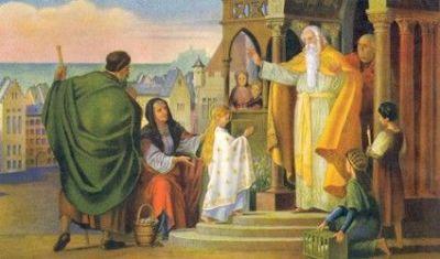 """Wspomnienie obowiązkowe Ofiarowania Najświętszej Maryi Panny Dzisiejszy dzień jest pamiątką poświęcenia """"nowego kościoła Najświętszej Maryi Panny"""", zbudowanego obok świątyni jerozolimskiej w roku 543. Kościół wspomina dzisiaj przede wszystkim ofiarę, która dokonała się w duszy Maryi w zaraniu Jej świadomego życia pod natchnieniem Ducha Świętego. / brewiarz.pl / 1  Maryjo, Córo królewska I Króla Oblubienico, Przez mądrość Bożą wybrana, Nim czas i wszechświat istniały; 2  Dzieweczko wolna od grzechu, Przybytku Pana wspaniały I uświęcona przez Ducha, Co z nieba zstąpił na Ciebie; 3  Promienny znaku miłości, Zwierciadło dobra wszelkiego, Jutrzenko prawdy i światła, Bożego Słowa mieszkanie; 4  W pałacu Króla wieczności Bezmiernym szczęściem się cieszysz, Bo pełnia łaski jest w Tobie, Rozkwitła różdżko Jessego! 5  Przeczysta perło ludzkości, Nad ziemią gwiazdo świecąca, Dopomóż nam się nawrócić I stać się Ducha świątynią. 6  Składamy cześć i podziękę Na wieki Trójcy Najświętszej, Gdyż Bóg uczynił Cię, Pani, Bezcennych darów skarbnicą. Amen. / hymn z dzisiejszej Jutrzni /"""