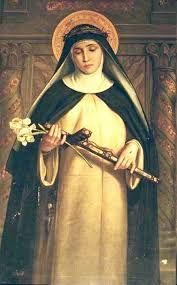 ŚWIĘTO ŚW. KATARZYNY SIENEŃSKIEJ, DZIEWICY I DOKTORA KOŚCIOŁA, PATRONKI EUROPY  Katarzyna Benincasa urodziła się w Sienie w roku 1347. Już od najmłodszych lat pragnęła doskonałości. Mając 16 lat przyjęła habit trzeciego zakonu św. Dominika. Pełna gorącej miłości Boga i bliźniego, przyczyniła się do utrwalenia pokoju pomiędzy miastami, stawała mocno w obronie praw i wolności papieża, popierała odnowę życia chrześcijańskiego. Jej dzieła zawierają głęboką doktrynę i są pełne ducha Bożego. Zmarła w roku 1380. Papież Paweł VI ogłosił ją doktorem Kościoła. / brewiarz.pl /  1  Oto dzisiaj wysławiamy Ciebie, święta Katarzyno, Światło dane Kościołowi, Który wieńczy twoje skronie.  2  Jaśniejąca cnót darami Wiodłaś życie nieskalane; Mocna wiarą i pokorna Poszłaś wąską drogą krzyża.  3  Byłaś gwiazdą dla narodów, Której blask przywracał pokój; Twoja dobroć przemieniała Zbyt okrutne obyczaje.  4  Pod natchnieniem Ducha prawdy Popłynęły twoje słowa Pełne żaru miłowania I mądrości niezrównanej.  5  Gdy ufamy twej modlitwie, O dziewico miła Panu, Spraw, by Jego królowania Wciąż szukały nasze serca.  6  Bądź na wieki uwielbiony, Jezu, Synu czystej Matki, Razem z Ojcem i płomiennym Duchem, dawcą pocieszenia. Amen. / Hymn z dzisiejszej Jutrzni/
